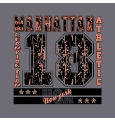 Manhattan New York typography athletic design vector