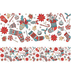 merry christmas hand drawn doodle seamless pattern vector image