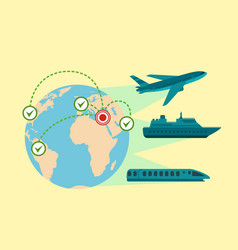 Migrant global transport concept banner flat vector