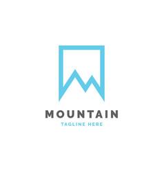 mountain in square logo design template vector image