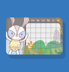 October calendar with rabbit cute animal vector