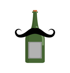 Old bottle of wine with mustache vintage alcohol vector