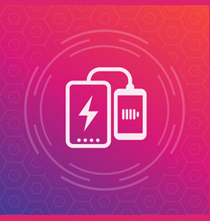 Power bank charging phone icon vector