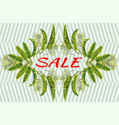 promo banner sale tropical leaves mirror striped vector image