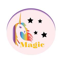 Rainbow unicorn stars colorful fantasy vector