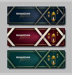 Ramadan kareem banner islamic background vector
