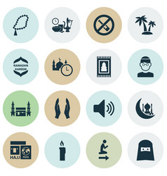 religion icons set includes icons such as beads vector image