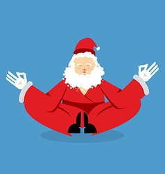 Santa meditating Christmas yoga Status of nirvana vector image