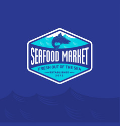 Seafood market restaurant logo blue salmon fish vector