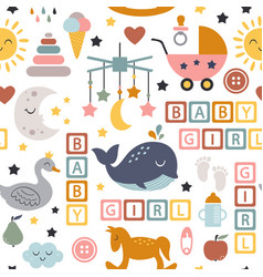 Seamless pattern with baby icons for girl vector