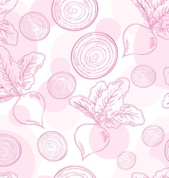 seamless pattern with beet and its slice vector image