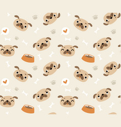seamless pattern with dog pugs vector image