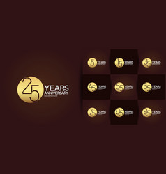 Set anniversary logo style with golden circle vector