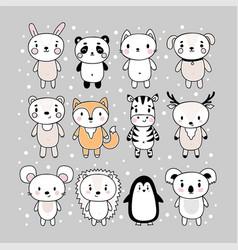 set cute hand drawn animals funny cartoon vector image