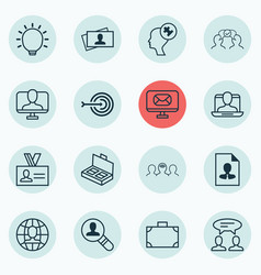 Set of 16 business management icons includes vector