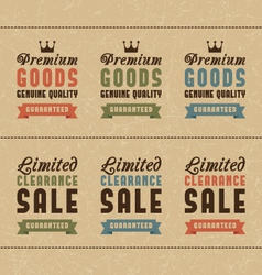 Set of discount sale and quality labels vector image
