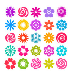 set of flowers icons in flat style vector image