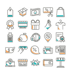 Shopping line style icon set design vector