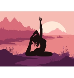 Silhouette of woman doing yoga in mountains vector image