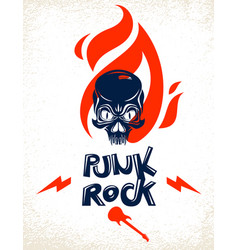 skull on fire rock and roll logo or emblem vector image