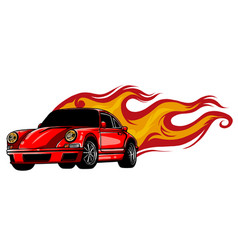 Sports car emblem with fire flames textile prints vector