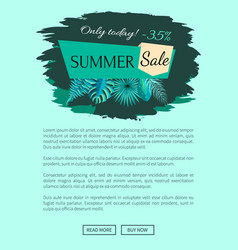 summer sale with 35 off only today promo emblem vector image