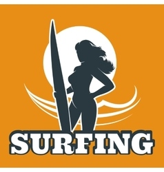 Surfing Colorful Emblem vector