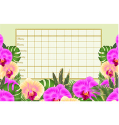 Timetable weekly schedule with tropical flowers vector