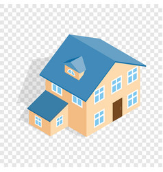 Two storey house with annexe isometric icon vector