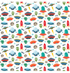 Ufo and aliens seamless pattern cute doodles vector