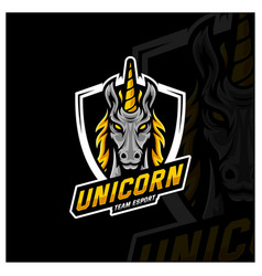 Unicorn esport gaming mascot logo template vector