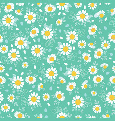 vintage daisies ditsy seamless pattern vector image