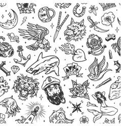 Vintage marine tattoos seamless pattern vector