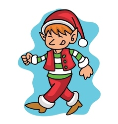 Walking elf Christmas collection stock vector