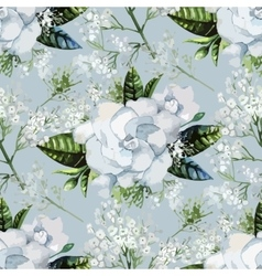 Watercolor gardenia and gypsophila pattern vector