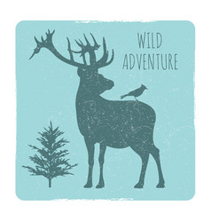 Wild forest adventures emblem with deer and bird vector