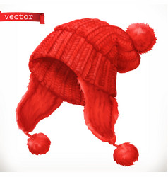 winter clothes knitted cap 3d icon vector image