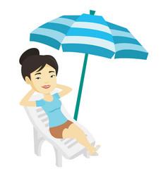 Woman relaxing on beach chair vector