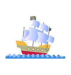 Ancient pirate ship with white sails and black vector