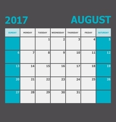 August 2017 calendar week starts on Sunday vector image vector image