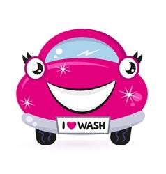cute pink car wash vector image vector image