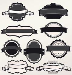 Frame labels ribbon Set ornamental vintage vector image vector image