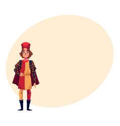 Full length portrait of italian man in renaissance vector