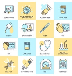 Medical tests icons flat line vector