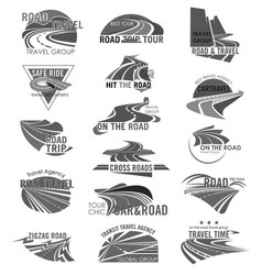 road travel company or agency icons set vector image vector image