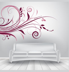 room interior with sofa showing wall decal vector image vector image