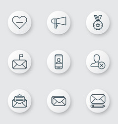 set of 9 social icons includes edit mail privacy vector image vector image