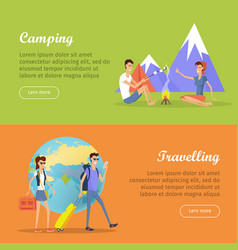 camping travelling posters web banners marketing vector image vector image