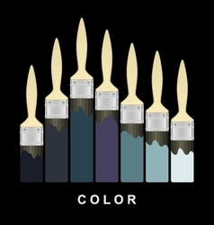 Color paint brush strokes on black page vector image vector image