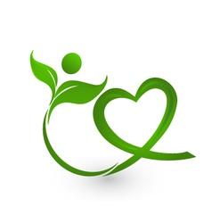 Healthy leafs with heart shape logo vector